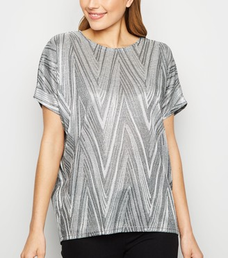 New Look Blue Vanilla Zig Zag Top