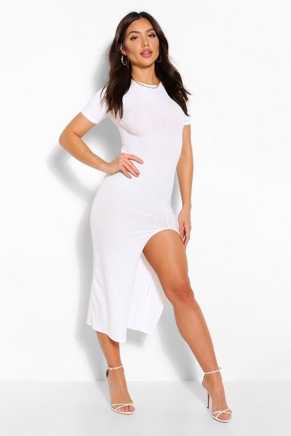 Thumbnail for your product : boohoo Jumbo Rib Split Side Midi Dress