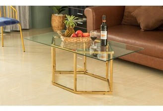 Everly Quinn Rectangular Glass Top Hexagon Gold Stainless Steel Metal Base Coffee Table