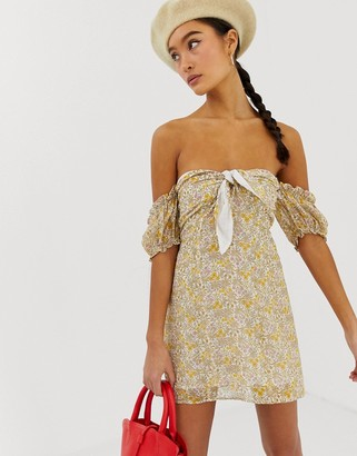 Emory Park off shoulder mini dress in retro floral-Yellow