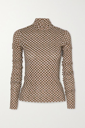 Nanushka Harri Checked Stretch-mesh Turtleneck Top