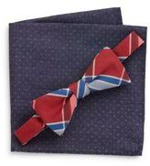 Original Penguin Plaid Bow Tie & Polka Dot Pocket Square Set