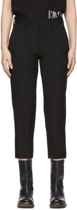 Y's Ys Black Gabardine U-Slim Trousers
