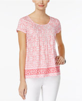 Charter Club Petite Cotton Printed Pintucked Top, Only at Macy's