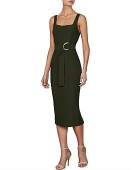 Shona Joy Davis Square Neck Fitted Midi Dress With D Ring