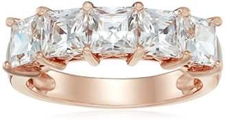 Swarovski La Lumiere Rose Gold-Plated Sterling Silver Zirconia 3 cttw Princess Cut 5 Stone Ring L1/2