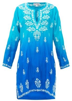 Juliet Dunn Embroidered Silk Kaftan - Blue Multi