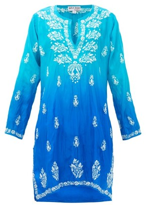 Juliet Dunn Embroidered Silk Kaftan - Womens - Blue Multi