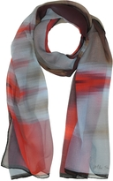 Mila Schon Gradient Red/Light Blue & Stripe Print Silk Long Scarf