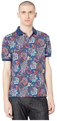 Etro Tropical Floral Polo (Navy) Men's Clothing