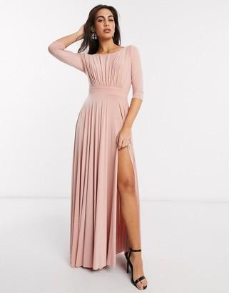 Goddiva long sleeve waistband detail maxi dress in pink