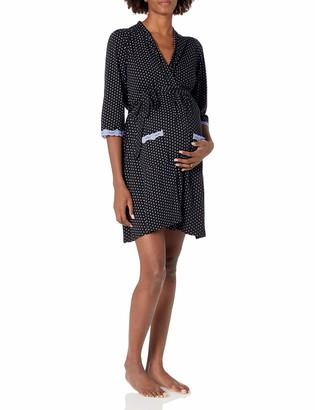 Belabumbum Women's Maternity Dottie Long Sleeve Maternity and Nursing Robe