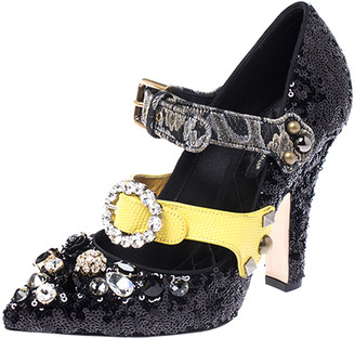 Dolce & Gabbana Black Sequins Embellished Buckle Strap Crystals Mary Jane Pumps Size 38.5