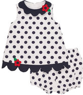 Florence Eiseman Scalloped Pique Polka-Dot Dress w/ Bloomers, White/Blue, Size 3-24 Months