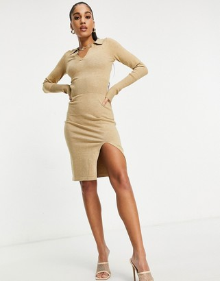 4th & Reckless knitted plunge front jumper dress with collar in camel
