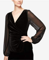 Alex Evenings Velvet Illusion Poet-Sleeve Blouse