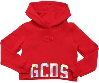 GCDS Cropped Cotton Sweatshirt Hoodie