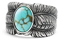 David Yurman Southwest Cigar Band Feather Ring with Turquoise