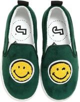Joshua Sanders SMILE VELVET & LEATHER SLIP-ON SNEAKERS