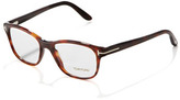 Tom Ford Unisex Semi-Rounded Square Fashion Glasses, Dark Havana
