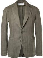 Officine Generale Olive Slim-Fit Unstructured Herringbone Linen-Blend Suit Jacket