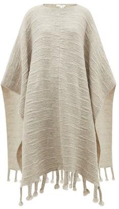 The Row Follain Ribbed Merino Wool-blend Poncho - Womens - Light Grey