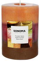 "SONOMA Goods for LifeTM 3"" x 4"" Triple Pour Pumpkin Spice, Apple Orchard & Spice Rack Pillar Candle"