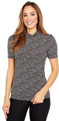 MICHAEL Michael Kors Babycat Short Sleeve Turtle Top (Caramel) Women's Clothing