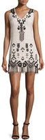 Nanette Lepore Embroidered Sheath Dress W/Fringe, Buff