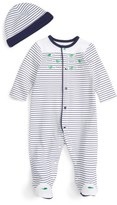 Little Me Infant Boy's Whale Stripe Footie & Beanie Set