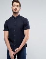 Original Penguin Slim Oxford Shirt Short Sleeve Buttondown In Navy