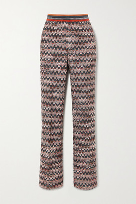 Missoni Crochet-knit Straight-leg Pants - Gray green