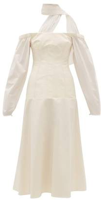 Ellery Off-the-shoulder Cotton-blend Midi Dress - Womens - Ivory