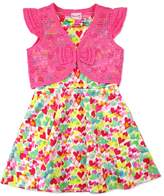 Nannette Toddler Girl Nanette Print Scuba Dress with Lace Shrug