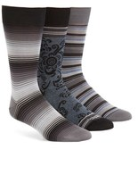 Bugatchi Assorted 3-Pack Mercerized Cotton Blend Socks