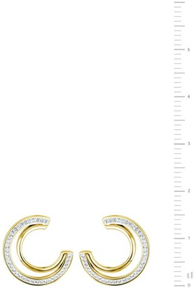 Evoke Gold Plated Sterling Silver Clear Swarovski Crystals Double Crescent Stud Earrings