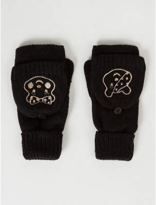 George Children in Need Pudsey Black Embroidered Flip Mittens