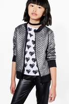 boohoo Girls Metallic Quilted Bomber Jacket silver