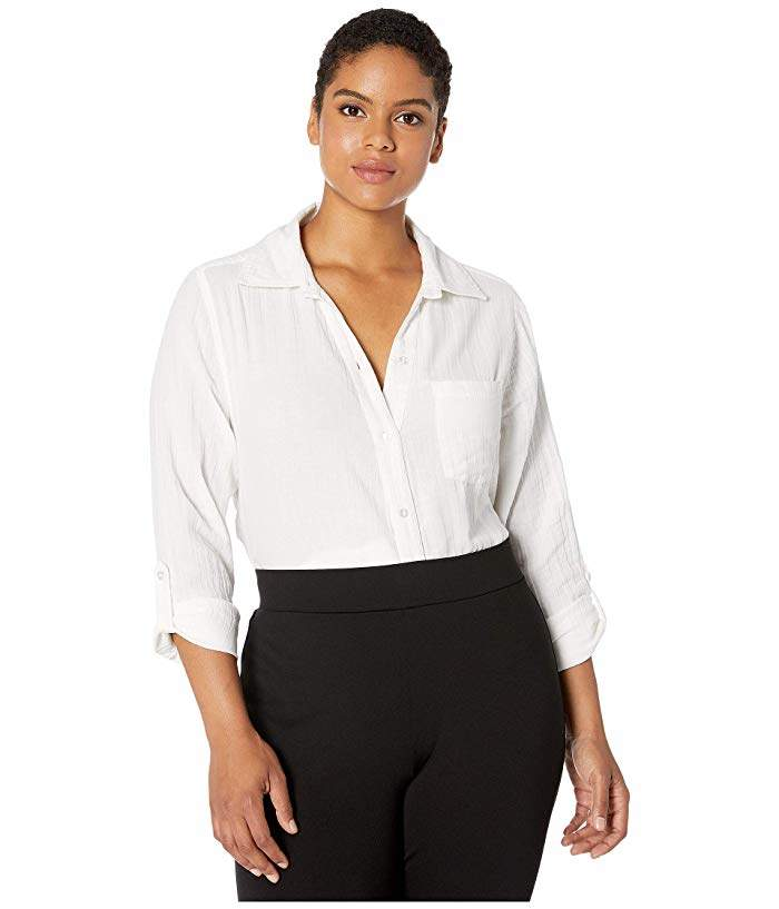 Jag Jeans Plus Size Adley Long Sleeve Double Cloth Shirt