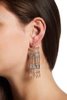 Steve Madden Two-Tone Bead Detail Fringe Front & Back Earrings