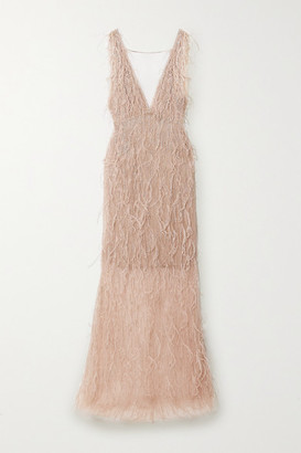 Marchesa Feather-trimmed Embellished Tulle Gown - Rose gold