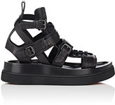 Christian Louboutin Men's Marathon Flat Leather Sandals-BLACK