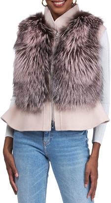 Gorski Wool Peplum Zip Vest with Fox Front