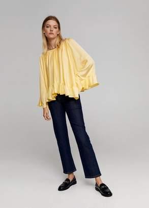 MANGO Ruffled blouse pastel yellow - One size - Women