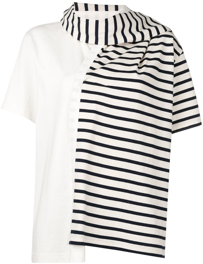 J.W.Anderson Striped Jersey T-Shirt With Draped Scarf