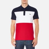 Lacoste Short Sleeve Bold Stripe Polo Shirt Navy Blue/white/red