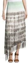 XCVI Matilda Tiered Tie-Dye Maxi Skirt W/Fringe, Mint
