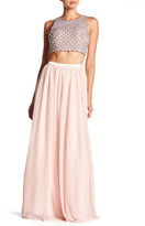 Sequin Hearts Rhinestone Crop Tank & Skirt Set