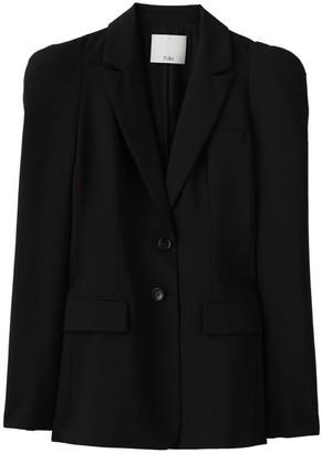 Tibi Tropical Wool Puff-Sleeve Blazer