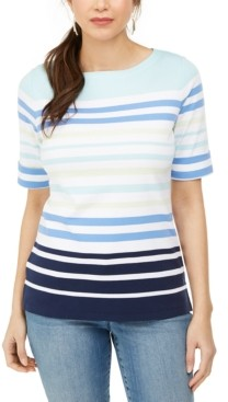 Karen Scott Petite Striped Elbow-Sleeve Top, Created for Macy's